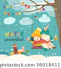 Cute girl and unicorn swinging in winter park 36018411