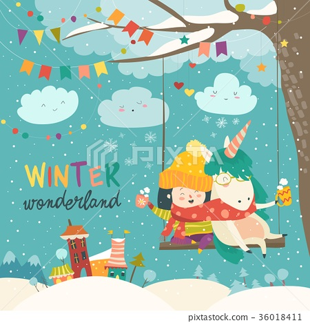 Cute girl and unicorn swinging in winter park 36018411