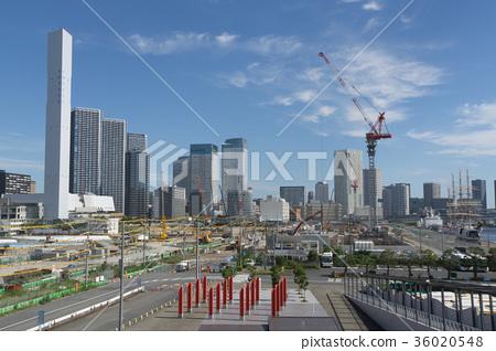 도시 풍경 도쿄 하루미 플래그 2020 도쿄 올림픽 선수촌 건설 현장 2017 년 9 월 36020548
