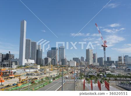 도시 풍경 도쿄 하루미 플래그 2020 도쿄 올림픽 선수촌 건설 현장 2017 년 9 월 36020551