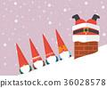 Little Santa looking at Big santa stuck in chimney 36028578