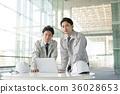 businessman, a meeting, blue collar worker 36028653
