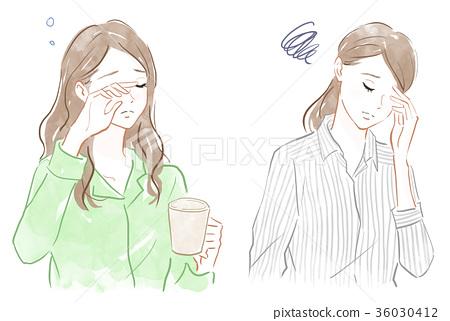 困倦,头痛,压力的形象 36030412
