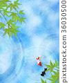 金鱼 树叶 日本风格 36030500