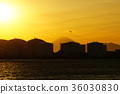 Chiba City Chiba Port Factory and Mount Fuji and Sunset 36030830