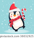 penguin with christmas candy 36032925