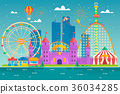 Amusement park with attraction and rollercoaster 36034285