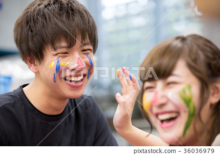 Face paint college student draw school life 36036979