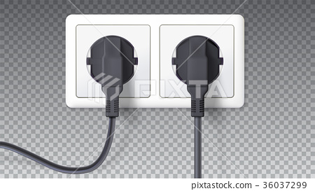 Electric plugs and socket. Realistic black plugs 36037299