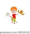 Boy riding stick horse and waving cowboy hat 36039183
