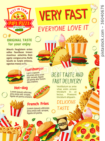 Fast food restaurant and pizzeria poster template 36040676