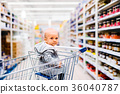 Little baby boy at the supermarket. 36040787