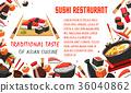 Japanese sushi restaurant banner of asian food 36040862
