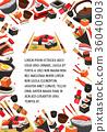 food, sushi, vector 36040903