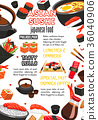 Japanese food, sushi roll and drink menu banner 36040906