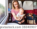 Young mother travelling with baby by train. 36040907