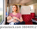 Young mother travelling with baby by train. 36040912