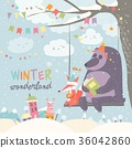 Funny bear and fox swinging in winter park 36042860