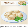 Pelmeni Meat dumplings. Cartoon vector icon 36042915