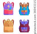Set of Colorful Rucksacks for Girls or Boys Vector 36043315