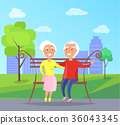 Happy Grandparents Day Senior Couple on Bench 36043345