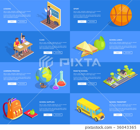 Class Lessons Sport and School Lunch Banners Set 36043365