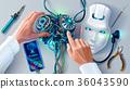 Man repairing robot. Scientist engineer designs 36043590