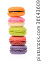 macaroons or macaron on white background, Dessert 36043609