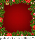 Border Fir Tree Branches With Poinsettia 36043675
