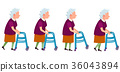 Set of Grandmother Characters Moving on Walkers 36043894