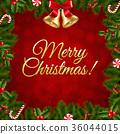Xmas Border Fir Tree Branches 36044015