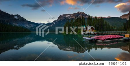 Canoes on Emerald Lake in Yoho National Park 36044191