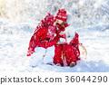 Kids sledding winter forest. Children drink cocoa 36044290