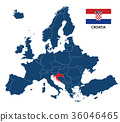 llustration of a map of Europe with Croatia 36046465