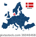 llustration of a map of Europe with Denmark 36046468