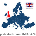Illustration of a map of Europe with Great Britain 36046474