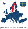 Illustration of a map of Europe with Sweden 36046555