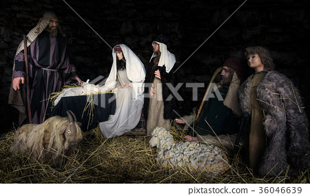birth of Christ scene from the bible 36046639