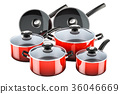 Set of cooking red kitchen utensils and cookware 36046669