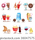 Cute funny food and drink characters set, best 36047575