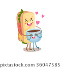 咖啡 三明治 食物 36047585