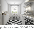 beautiful scandinavian kitchen with black tile 36048824