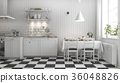 beautiful scandinavian kitchen with black tile 36048826