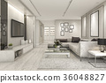 luxury and modern living room with marble tile  36048827