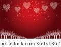 聖誕節圖像背景例證 紅色心臟裝飾品畫有夜視圖和雪花 聖誕節 36051862