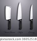 Cutlery icon set - vector realistic kitchen knives 36052518