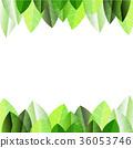 Plumeria leaves frame pattern on white background. 36053746