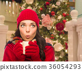 Warmly Dressed Girl In Front of Christmas Tree 36054293