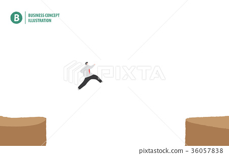 Businessman jumping on the cliff vector 36057838