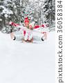 Happy family outdoor in winter 36058384
